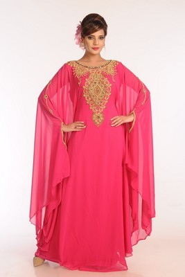 Pink Georgette Embroidered Stitched Islamic Kaftans