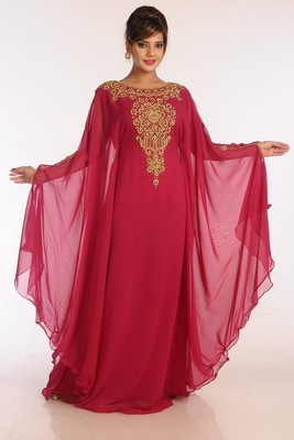 Maroon Georgette Embroidered Stitched Islamic Kaftans