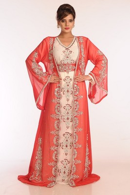 Off White And Red Georgette Embroidered Stitched Islamic Kaftans