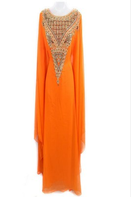 Orange Georgette Embroidered Farasha