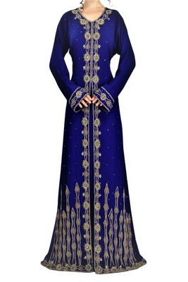 Navy Blue Georgette Embroidered Islamic Kaftans