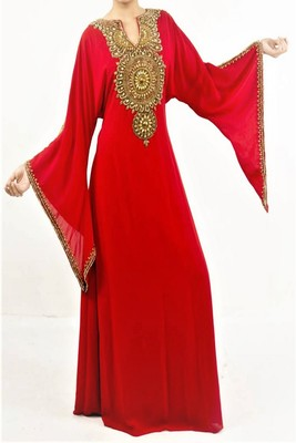 Red Georgette Embroidered Farasha