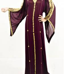 Wine Georgette Embroidered Islamic Kaftans