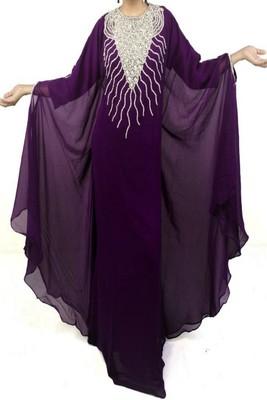Purple Georgette Embroidered Farasha