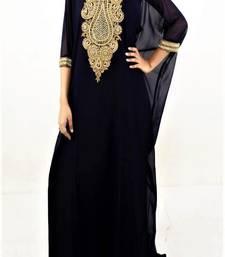 Black Georgette Embroidered Farasha