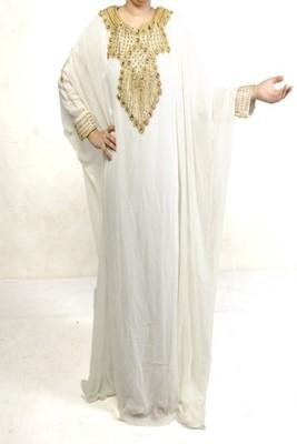 White Georgette Embroidered Farasha