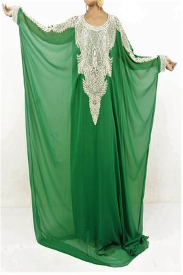 Green Georgette Embroidered Farasha