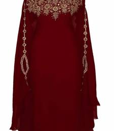 Maroon Georgette Embroidered Farasha