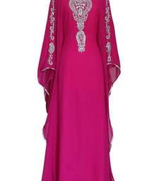 Pink Georgette Embroidered Farasha
