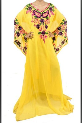 Yellow Georgette Embroidered Farasha