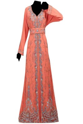 Peach Georgette Embroidered Islamic Kaftans
