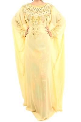 Beige Georgette Embroidered Farasha