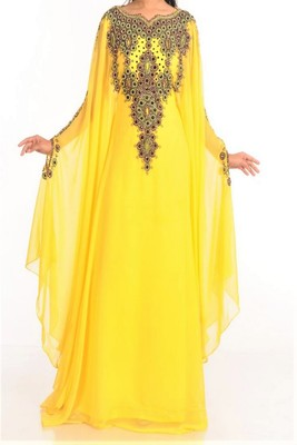 Yellow Georgette Embroidered Farasha
