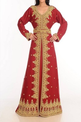 Maroon Georgette Embroidered Islamic Kaftans