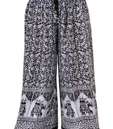 Buy Black Jaipuri Printed Cotton Palazzo palazzo-pant online