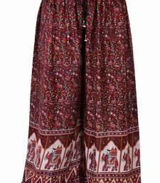 Buy Maroon Jaipuri Printed Cotton Palazzo palazzo-pant online