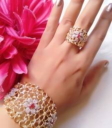 M Creation Gold Plated Bracelet and Ring For Women/Girls