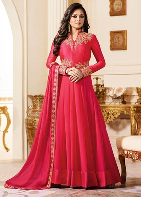 Pink Embroidered Georgette Semi Stitched Anarkali Salwar With Dupatta