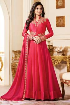 Pink Embroidered Georgette Semi Stitched Anarkali Salwar With Dupatta a7af9231d