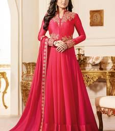 Red Embroidered Georgette Semi Stitched Anarkali Salwar With Dupatta