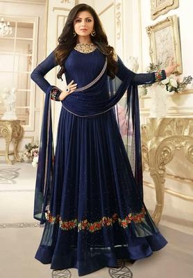 Blue Embroidered Faux Georgette Semi Stitched Anarkali Salwar With Dupatta