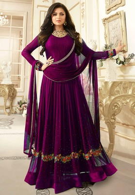 Purple Embroidered Faux Georgette Semi Stitched Anarkali Salwar With Dupatta