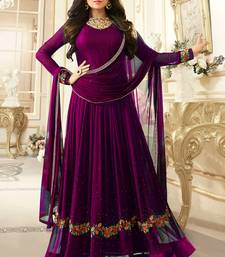 Purple Embroidered Faux Georgette Semi Stitched Anarkali Salwar With Dupatta