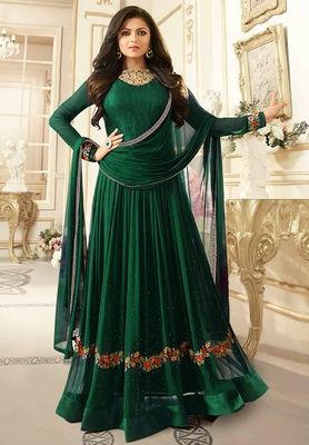 Green Embroidered Faux Georgette Semi Stitched Anarkali Salwar With Dupatta