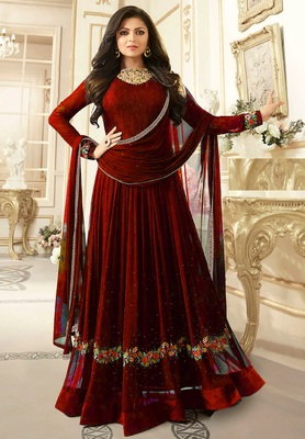 Red Embroidered Faux Georgette Semi Stitched Anarkali Salwar With Dupatta