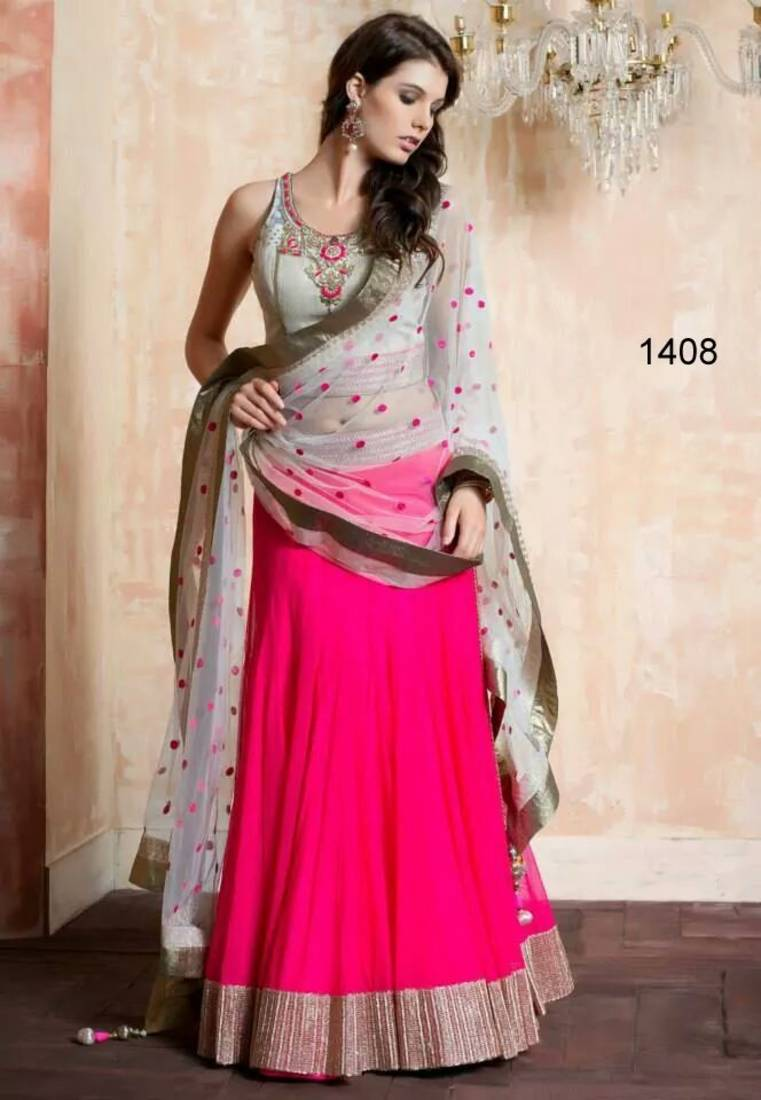 Buy Pink And Off White Net And Georgette Plain Designer