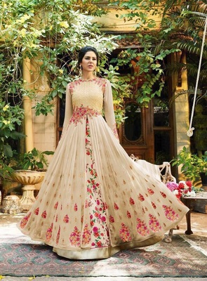 Beige Embroidered Georgette Semi Stitched Anarkali Salwar With Dupatta