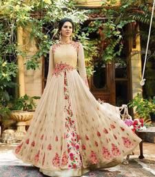 Beige Embroidered Georgette Semi Stitched Anarkali Salwar With Dupatta