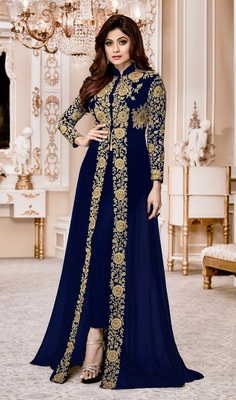 Blue Embroidered Jacket Style Faux Georgette Salwar Suit