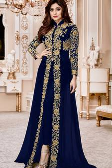 0183869397 Progress 4cc28d84d76fcb9210fe43f7ac15eb975cd0845b972ae4a79b1d0ad72de0bd8e.  Blue Embroidered Jacket Style Faux Georgette Salwar Suit