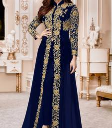 Buy Blue Embroidered Jacket Style Faux Georgette Salwar Suit abaya-suit online