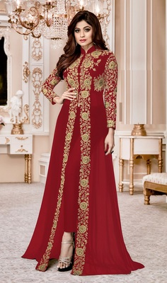 Red Embroidered Faux Georgette Semi Stitched Jacket Style Anarkali Suit