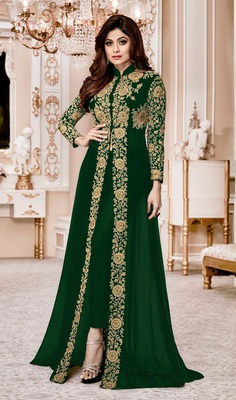 Green Embroidered Jacket style Faux Georgette Salwar Suit