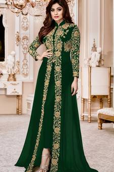 3198667446 Green Embroidered Jacket style Faux Georgette Salwar Suit
