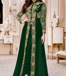 Buy Green Embroidered Jacket style Faux Georgette Salwar Suit abaya-suit online