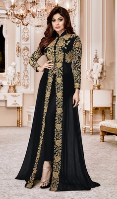 Black Embroidered Jacket style Faux Georgette Salwar Suit