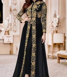 Buy Black Embroidered Jacket style Faux Georgette Salwar Suit abaya-suit online