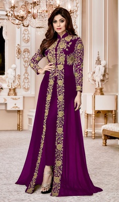 Purple Embroidered Faux Georgette Semi Stitched Abaya Style Salwar With Dupatta