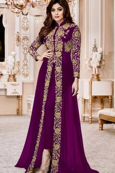 91d83dc577 Purple Embroidered Faux Georgette Semi Stitched Abaya Style Salwar With  Dupatta. Shop Now