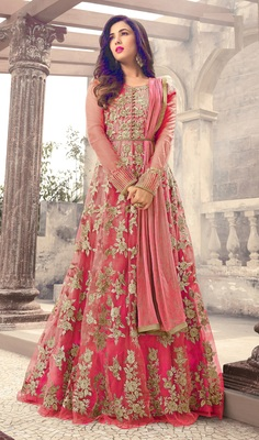 Pink Embroidered Net Semi Stitched Anarkali Salwar With Dupatta