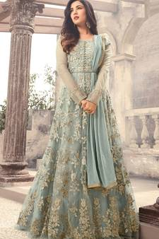 9a4bcc845e1 Grey Embroidered Net Semi Stitched Anarkali Salwar With Dupatta