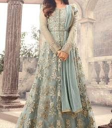 Grey Embroidered Net Semi Stitched Anarkali Salwar With Dupatta