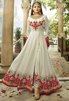 White Embroidered Faux Georgette Semi Stitched Anarkali Salwar With Dupatta
