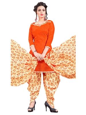 Orange printed poly cotton salwar with dupatta