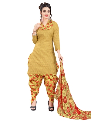 Yellow Printed Poly Cotton Salwar With Dupatta