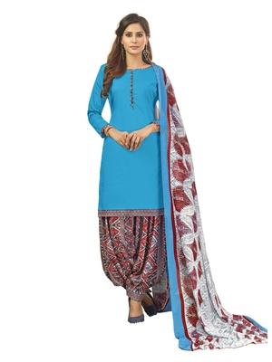 Blue plain cotton salwar with dupatta